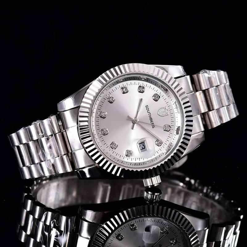 SOUTHBERG Gold silber Uhr Männer GMT Drehbare Lünette Saphirglas edelstahl Band Sport Quarz Armbanduhr reloj relogio