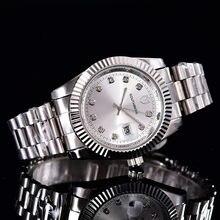e363dd24b2f SOUTHBERG Relógio De prata de Ouro Homens de aço Inoxidável Vidro de Safira  GMT Bezel Rotativo