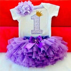 Детские платья для девочек 2019 с юбкой-пачкой для девочек 1st для празднования первого дня рождения Платье для малышей для маленьких девочек в...