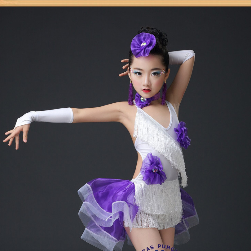 Sequin tassel latin dance dress for girls salsa kids dresses competition spandex children samba tango salsa cha Fringe ballroom