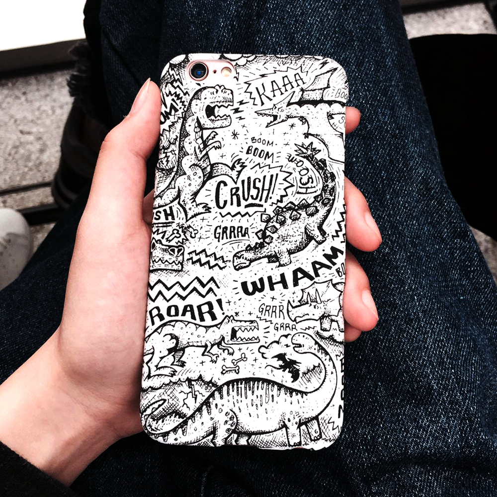2016 New Arrival Fashion Black and White Cartoon Dinosaurs Phone Case Frosted Protective Skin Shell Cover For IPhone 6 6 Plus