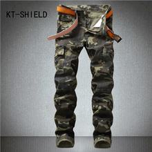Skinny men camouflage casual cargo pants hombre Tactical Military Camo biker motorcycle homme jeans trousers calca masculina