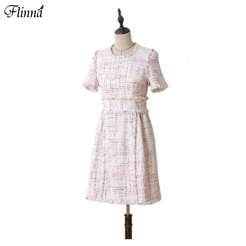 Women Vintage Tweed Cloth Mini Dresses Elegant Cute Ball Gown Dress Female 2017 Autumn Winter New Plus Size