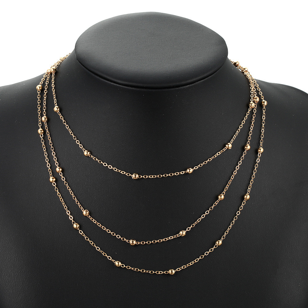 2019欧美时尚简约大方三层链 合金链条项链颈链锁骨链  1.99块 $1.69