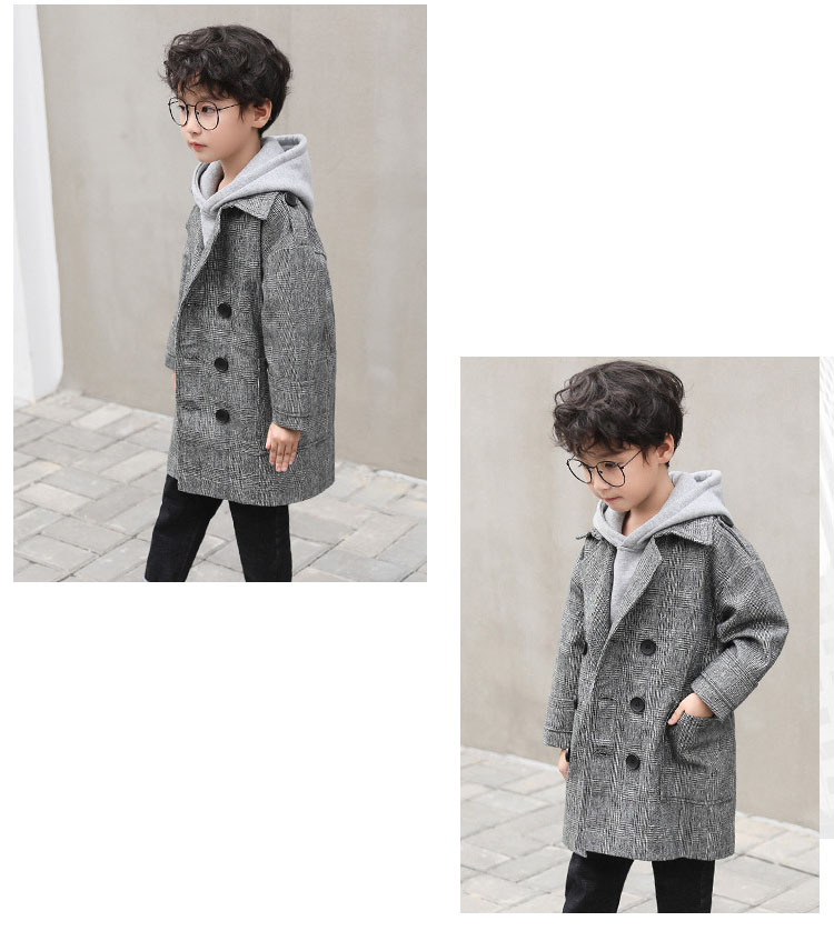 gray plaid pockets long jackets for baby boys fashion trench coats clothing kids autumn children outerwear tops clothes new 2018 (9)