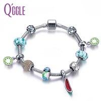 QGGLE Nouveau Fruits Kiwis Pastèque Charme Fille Bracelet & Bracelet Pour Les Femmes Avec Cuivre Cristal boules De Verre