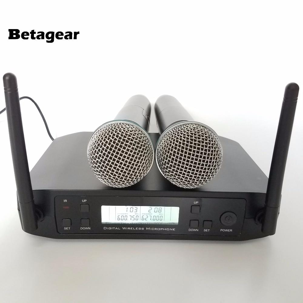 Betagear 2-Ch UHF Wireless Karaoke Microphone System GLDX4 600-649Mhz Digital Microphone UHF Dual Handheld Microfone microfono professional wireless microphone system wr 208 dual mic with receiver mike for karaoke microfone sem fio microfono inalambrico