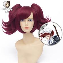 Czarny Butler Merlin wino czerwone krótkie peruka do cosplay syntetyczne włosy Peruca kostium na Halloween kucyk peruki dla kobiet