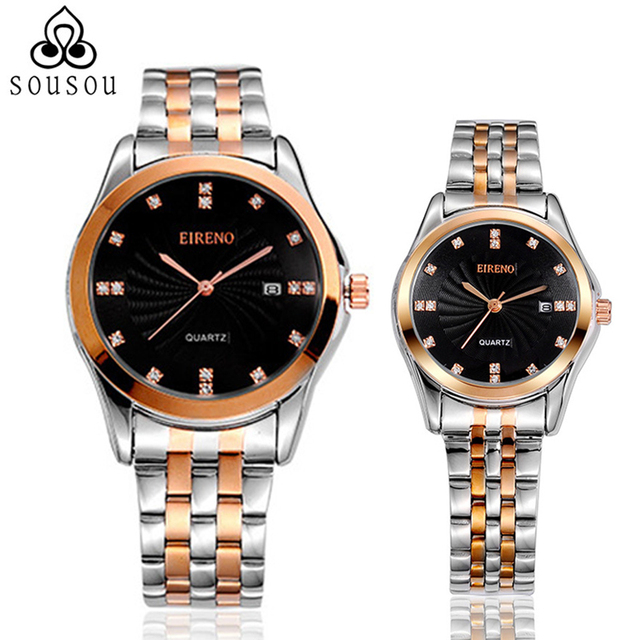 25908d37d8 EIRENO Luxury Lovers Couple Watches Men Date Day Waterproof Women Gold  Stainless Steel Quartz Wristwatch Montre