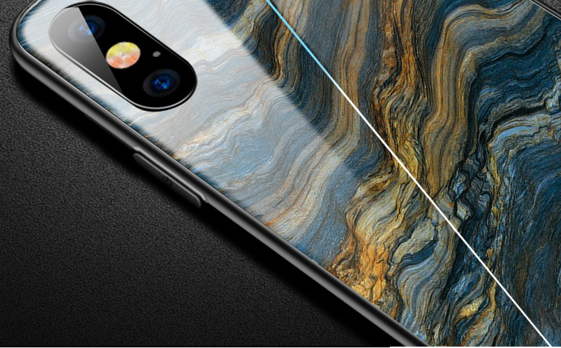 TOMKAS Luxury Marble Phone Case for iPhone X 10 Tempered Glass PC Agate Back Cover Silicone Soft Edge Coque Case for iPhone X (3)