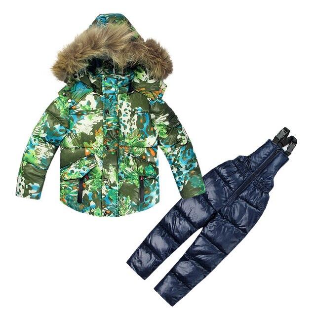 buy online 08e5c c8b40 US $52.5 25% OFF|Kinder Kleidung Jungen Mädchen Winter Daunenmantel Kinder  Warme Jacken Kleinkind Schneeanzug Oberbekleidung + Strampler Kleidung ...