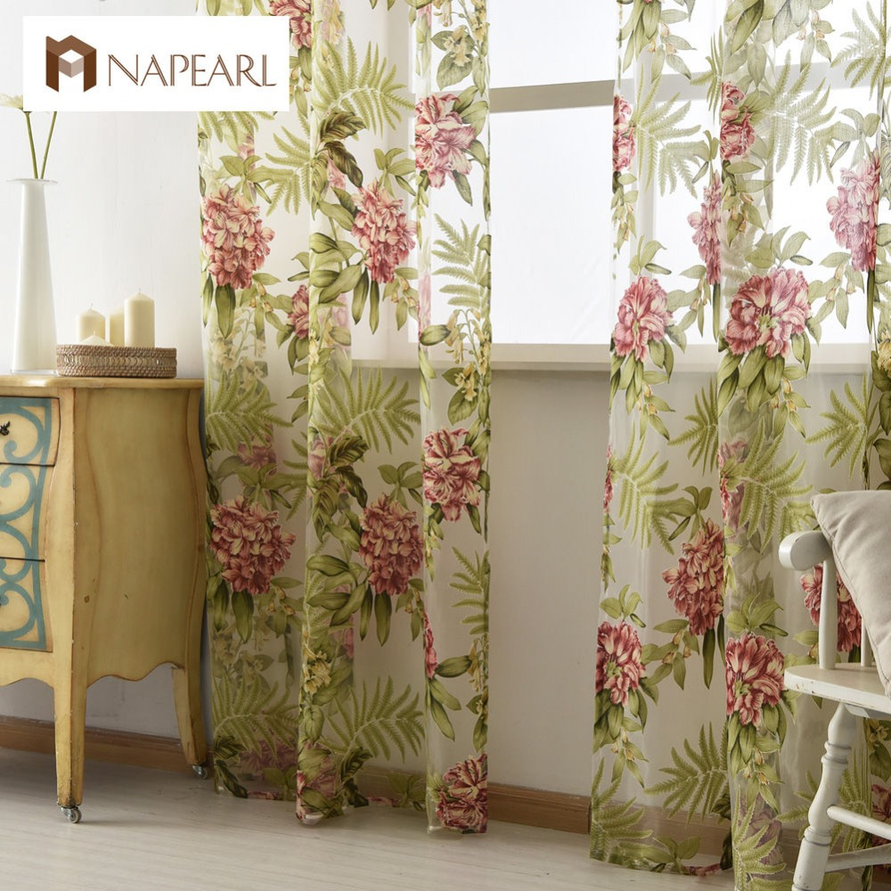 Sheer red window curtains - Tulle Curtain Green Leave Red Flower Spring Summer Transparent Sheer Fabrics For Window Treatments Short Panel