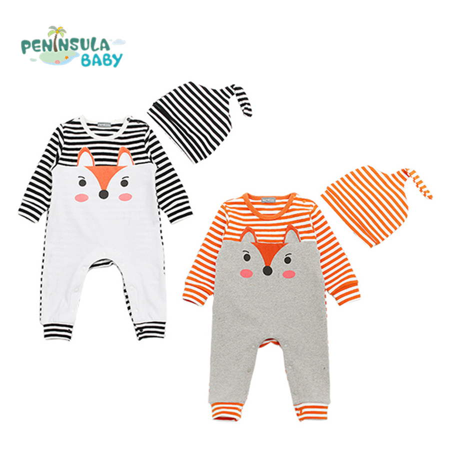 Baby Rompers Cotton Baby Girls Boys Clothes Cartoon Fox Striped Clothing Sets With Hat Infant Costume Long Sleeve For Newborns baby girls boys clothing baby clothes pajamas cute cartoon 100% cotton long sleeve infant de bebe costumes baby rompers