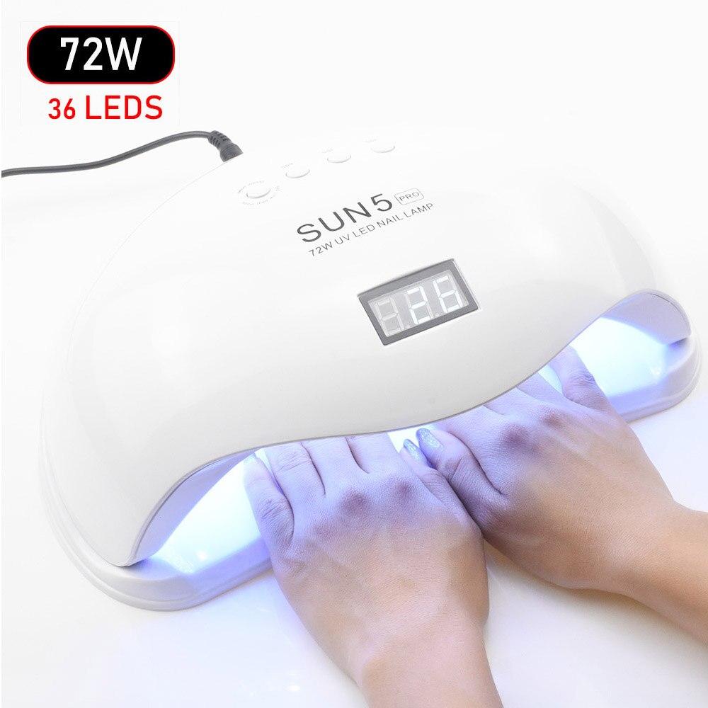 SUNX SUN5 72 W UV Led Lampe Nagel Trockner Für Alle Arten Gel 36 Leds UV Lampe für Nagel Sonne licht Infrarot Sensing Smart Für Maniküre