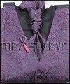 Envío Libre caliente 5 Botón Ajustable cinturón Volver Tuxedo purple paisley Chaleco Del juego