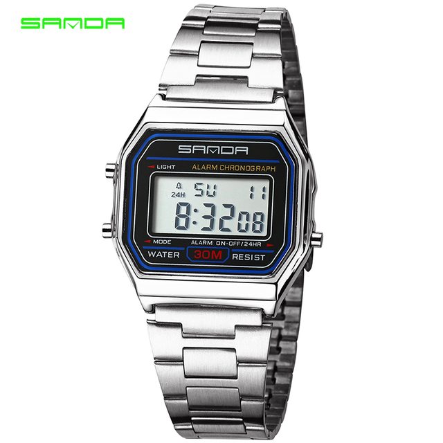 New Fashion Gold Silver Couples Watches LED Digital Watches Stainless Steel Bracelet Waterproof Sports Watch Relogio Masculino