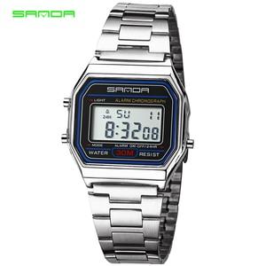 Image 1 - SANDA montre de sport pour hommes, en or et argent, numérique, Bracelet en acier inoxydable, étanche, collection LED