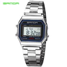 Sanda 골드 실버 남성 시계 led 디지털 시계 스테인레스 스틸 팔찌 방수 스포츠 시계 relogio masculino