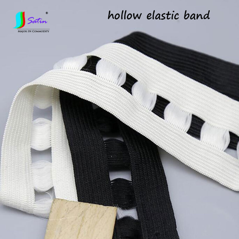 Wholesale 50 Yards Garment Sew Craft Decoration Material Width 35MM White,Black Hollow Small Hole Elastic Band S0810L