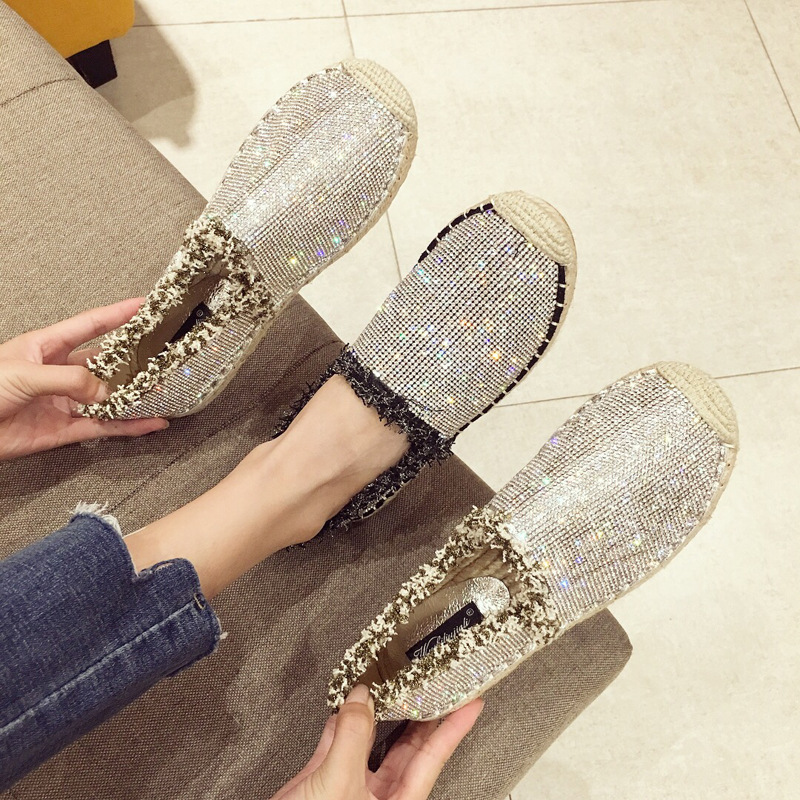 Jookrrix Crystal Shoes Women chaussure Fashion Fisherman Shoe Rhinestone Lady Espadrille Bling alpargatas Female footware Silver