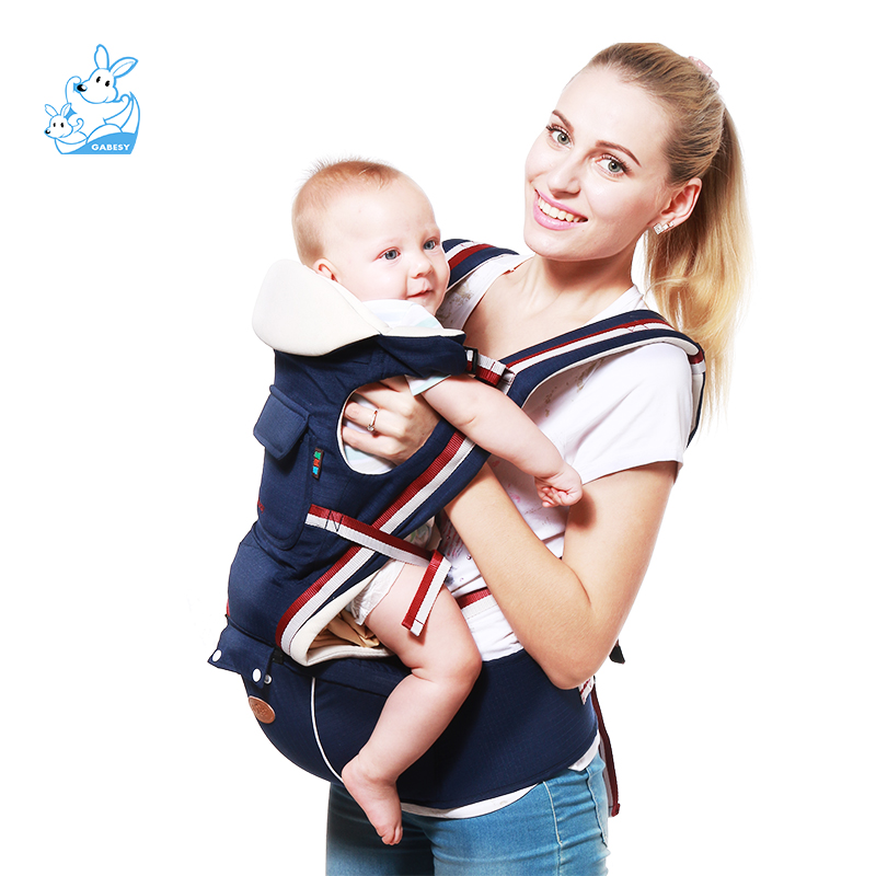 2-36 Months 20KG baby sling cotton carrier wrap carrier Ergonomic Baby Carrier Infant Comfortable Sling Backpack Wrap Baby multi function portable comfortable cotton baby carrier sling bag deep blue white