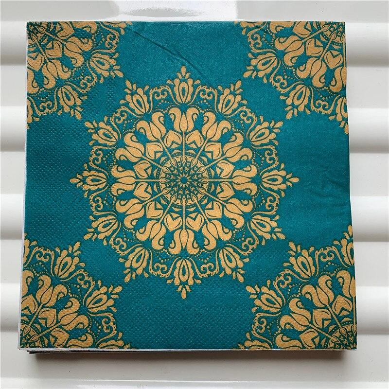 Image 5 - 20 vintage Napkin paper elegant tissue handkerchief red gold green purple flower decoupage servilletas wedding party home decor-in Disposable Party Tableware from Home & Garden