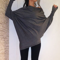 New Fashion Womens Loose T-shirts Female Dark Gray T-shirt Woman Autumn Pullover Tops Women Batwing Sleeve Solid Outwears Tees