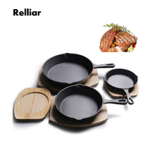 Non-stick Cast Iron Fry Pan 14/16/20cm Uncoated Skillet Western Omelette Egg Pancake Pot Wok Induction Cooker Cookware