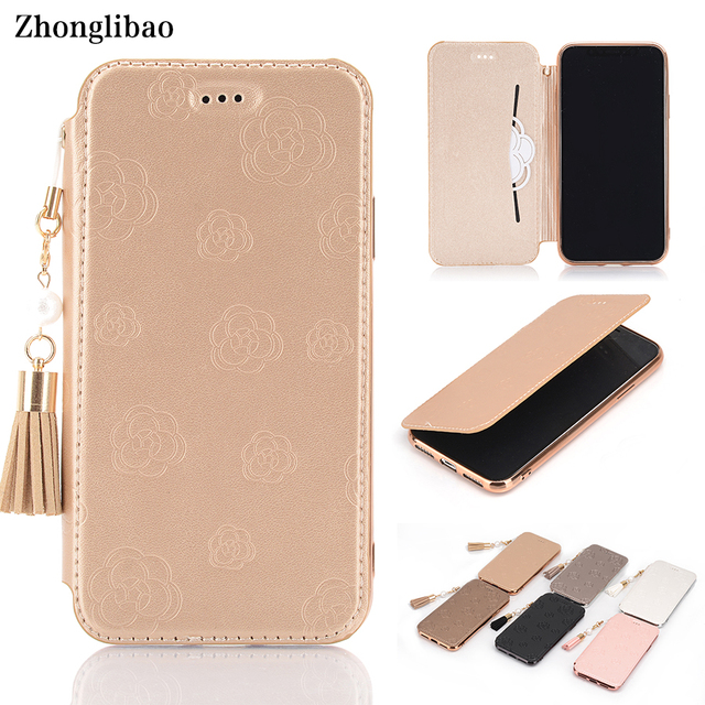Luxury Slim Flip Case for Iphone X 8 7 6 6S Plus Xs Max Xr Cute Mountain Tea Flower Pu Leather TPU Silicon Cover Tassel Pearl