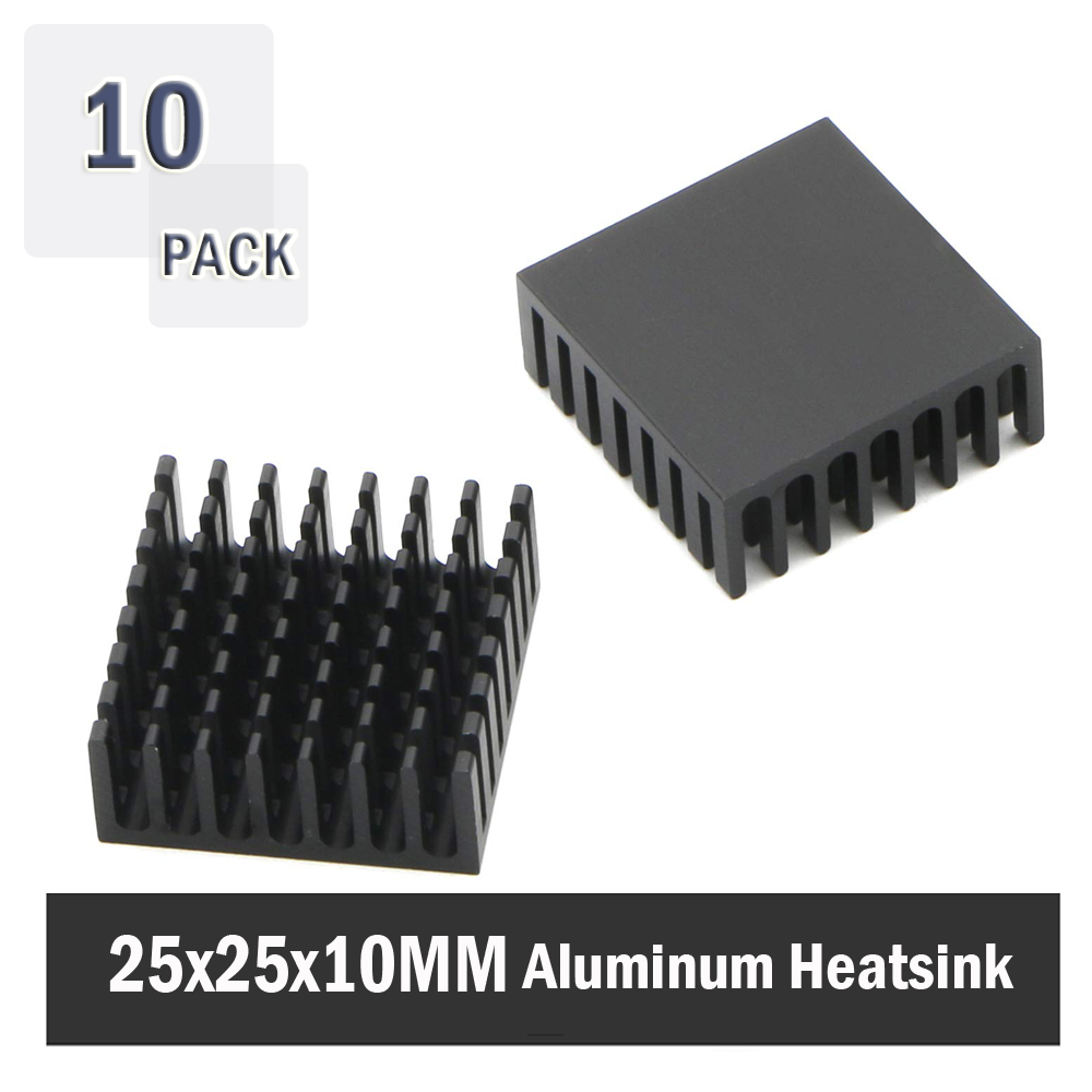 10Pcs Gdstime 25x25x10mm 25mm 10mm Black Aluminum Cooler Radiator Heat Sink Heatsink For Stepper Drive  MOSFET VRM Vram IC Chips