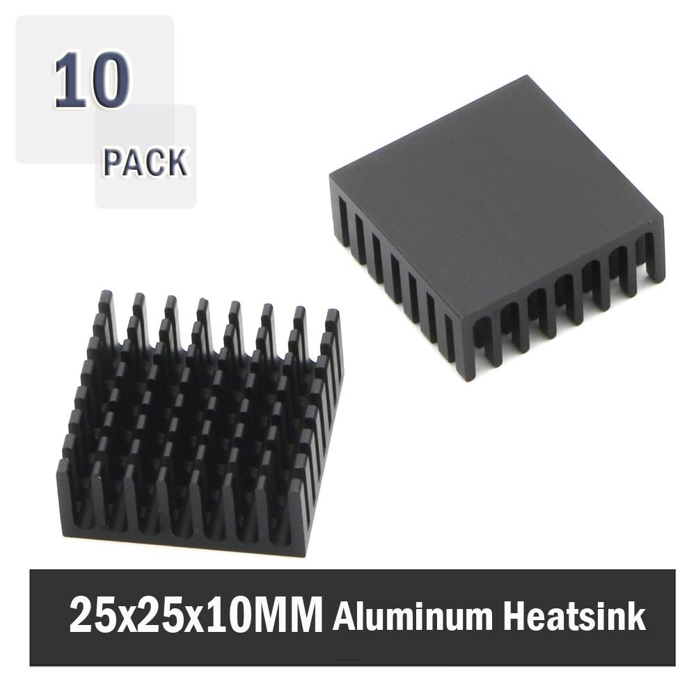 10Pcs Gdstime 25x25x10mm 25mm 10mm Black Aluminum Cooler Radiator Heat Sink Heatsink For Stepper Drive  MOSFET VRM Vram IC Chips