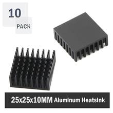 10 шт. Gdstime 25x25x10 мм 25 мм 10 мм черный алюминиевый радиатор Радиатор для шагового привода MOSFET VRM Vram IC чипы