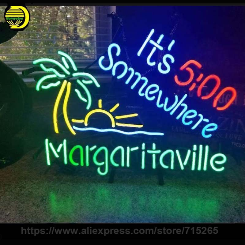 Its 5 00 Somewhere Palm Tree Margaritaville Neon Sign Neon Bulb Sign Handcrafted Pub light signs Glass Tube Recreation Windows