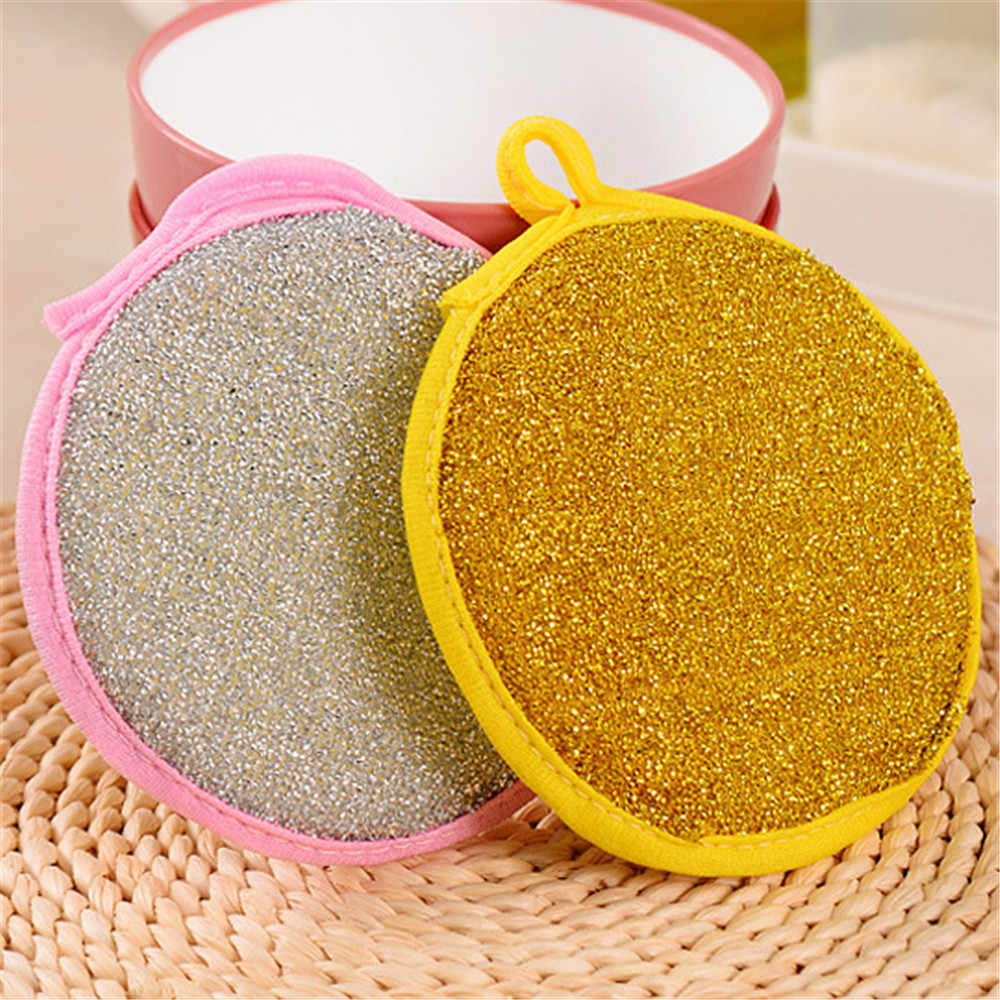 Double Side Kitchen Cleaning Dish Washing Scouring Pad Sponge Scrubber #OR