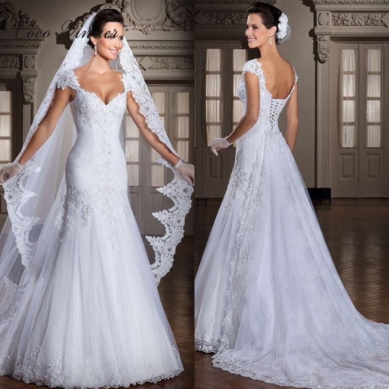 C V vestido de noiva Backless Appliques Lace Up Back Bridal Gown Memaid Wedding Dress With