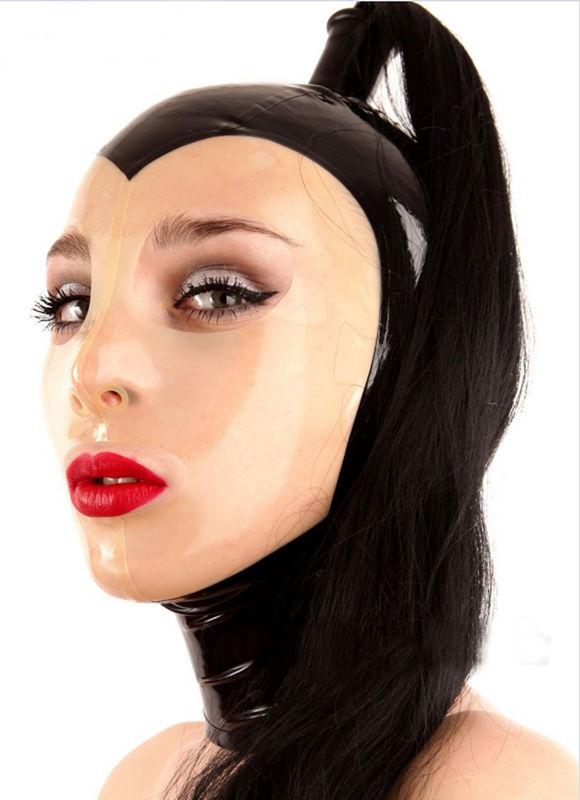 Latex Rubber Gummi Two Pony Tail Wigs Big Eyes Hole Hood Mask Customized 0.4mm