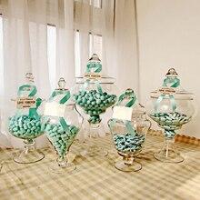 Europe Glass bottles Decoration Crafts transparent dust-proof stand dessert candy jars tea caddy Boxes storage jar wedding vase
