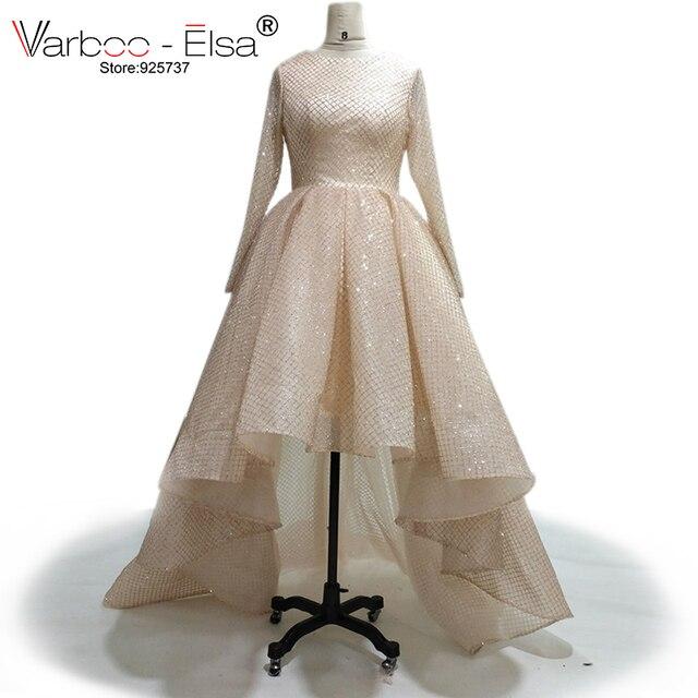 VARBOO_ELSA 2018 mode femmes à manches longues haute basse robe de soirée Champagne robe de bal en paillettes courte devant longue dos robe de soirée