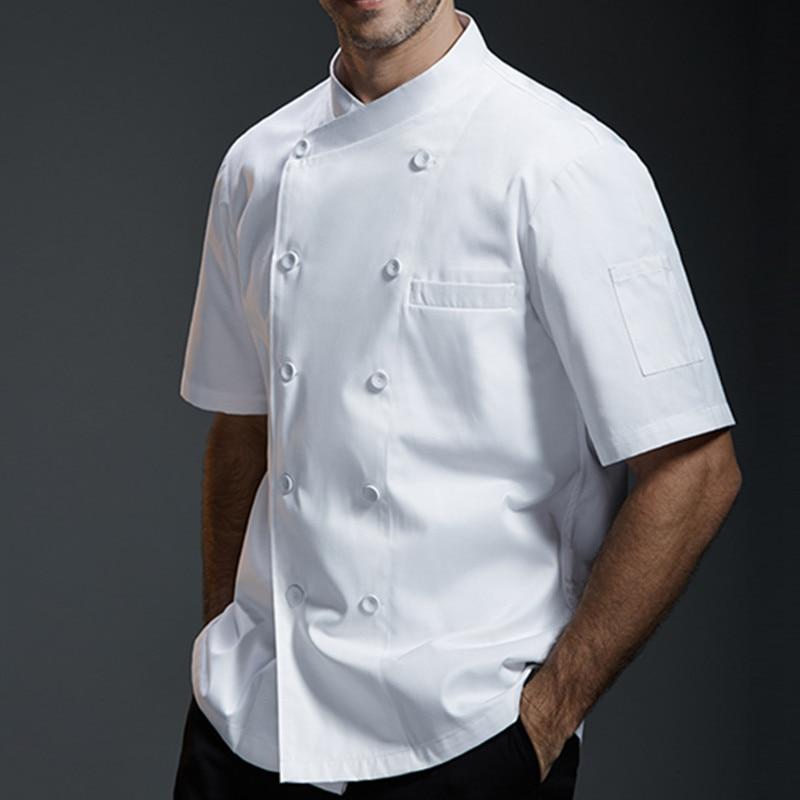 Black White Gray Short Sleeve Shirt Barista Hotel Restaurant Kitchen Chef Uniform Summer Bistro Baker Bar Catering Work Wear B81