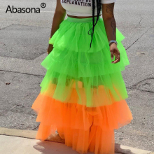 Abasona Sweet Cake Layered Mesh High Waist Long Maxi Skirt Princess Cascading Ruffle Vintage Tiered Tulle INS Sexy Beach Skirts
