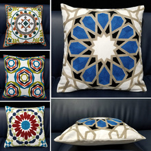 Round Geometric Embroidered Decorative Handmade Square Cotton Throw Pillows Case Cushion Covers for Home Sofa Car Decoration