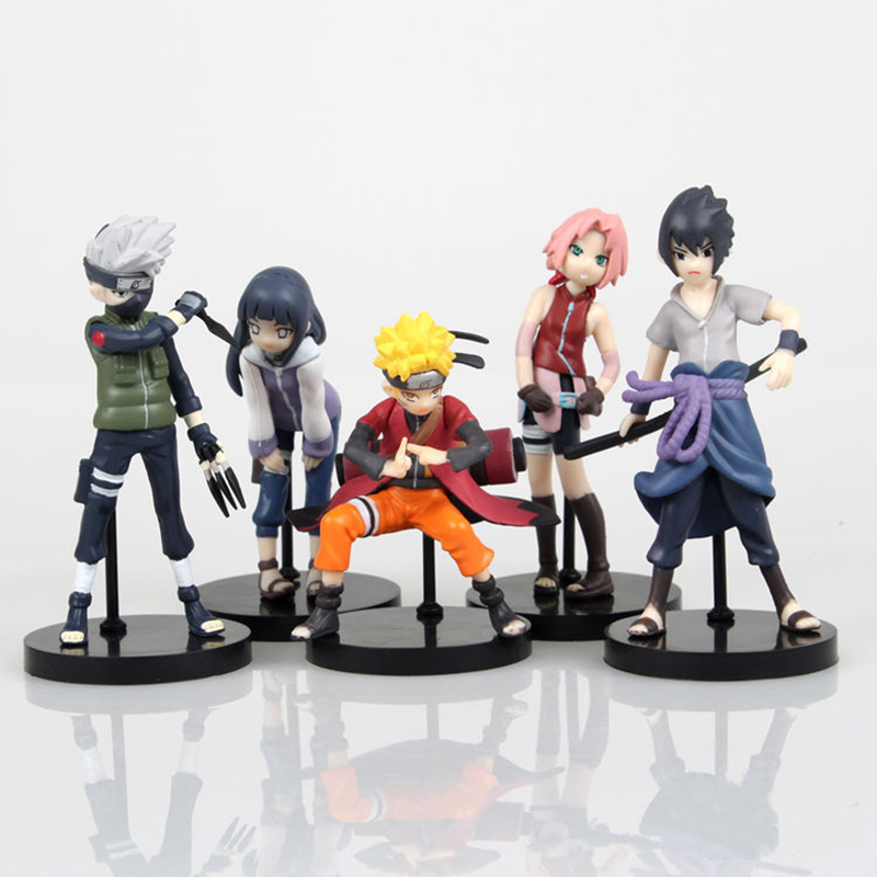 5Pcs Set Naruto Kakashi Sasuke Sakura Hinata Keychain Pvc Action Figure 10CM Anime Collection Model Jouet Kids Toys for Children naruto sakura kakashi sasuke anime kawaii acrylic keychain pendant