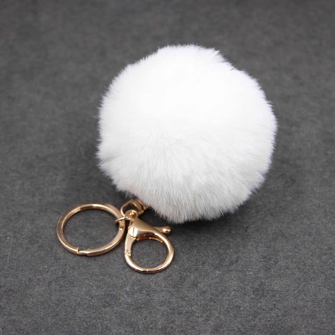 Porte Clef 8CM Rabbit Fur Keychain Backpack Bag Ball Trinkets Pom Pom Car Keyring Pendant Handbag Buckle Charms Bunny Key Chains
