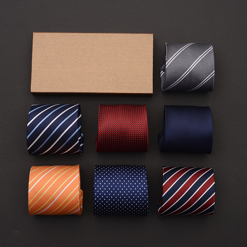Classic Blue Striped 9cm Wide Boss Ties For Men Fashion Business Formal Salon Mens Tuxedo Suit Accessories Necktie With Gift BOX