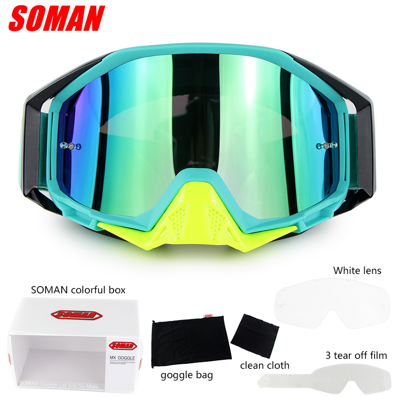 Soman Brand Motocross Glasses ATV Casque Motorcycle Goggles Racing Off Road Moto Bike Sunglasses SM13 With Clear Len Tear Offs in Motorcycle Glasses from Automobiles Motorcycles