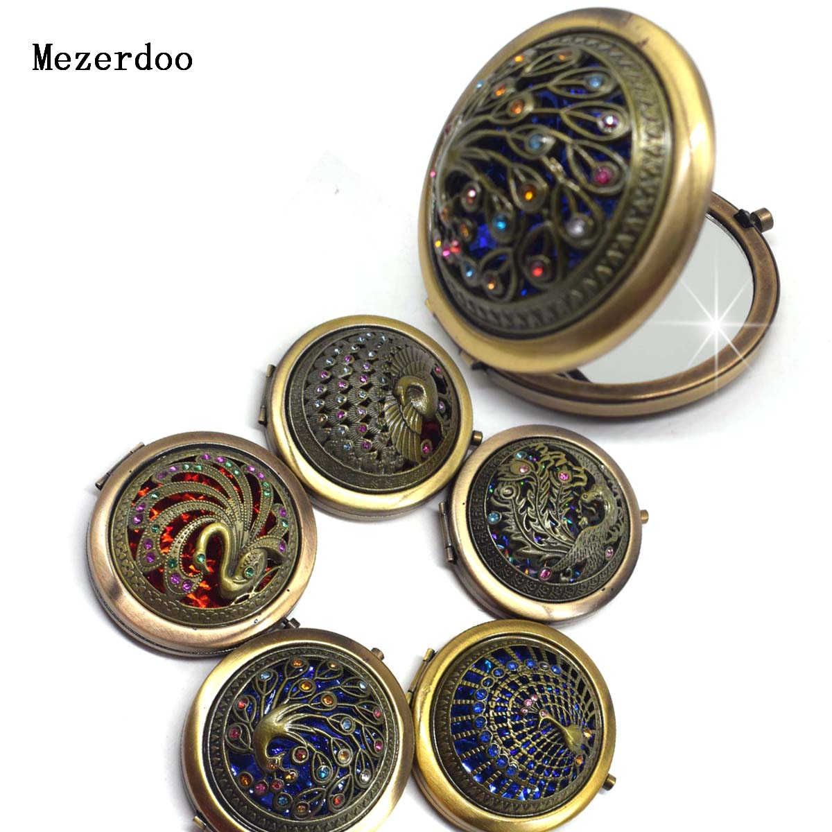 Vintage Gifts Hand Mirrors Hollow Peacock Style Pocket Mirror Mini Portable Compact Mirrors Girl Double-Side Folded Makeup Tools