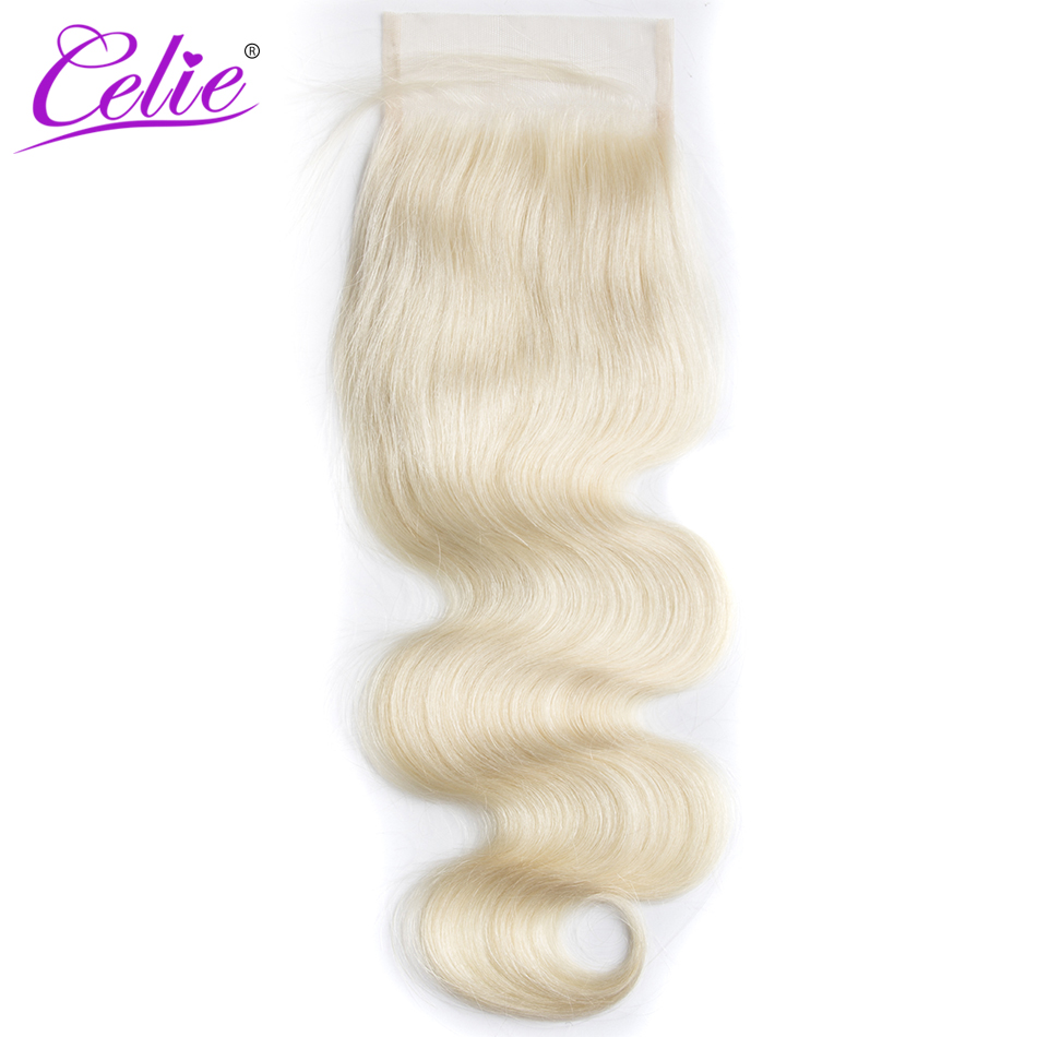 Celie Hair 613 Blonde Body Wave Lace Closure 4x4 Free/Middle Part 10-20 inch 100% Remy Human Hair image