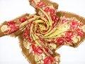 2015 nueva plaza de la bufanda 100% lana moda bufanda cuadrada, flores amarillo tamaño : 120 x 120