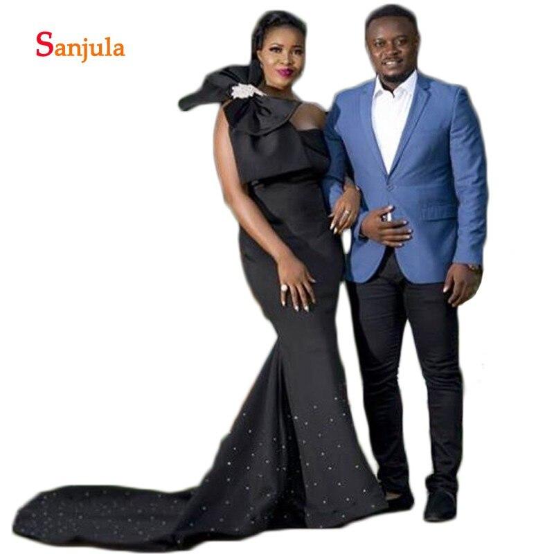 Robes de soirée africaines une épaule perles Train sirène robes formelles avec nœud élégant noir robes de soirée vestido D653