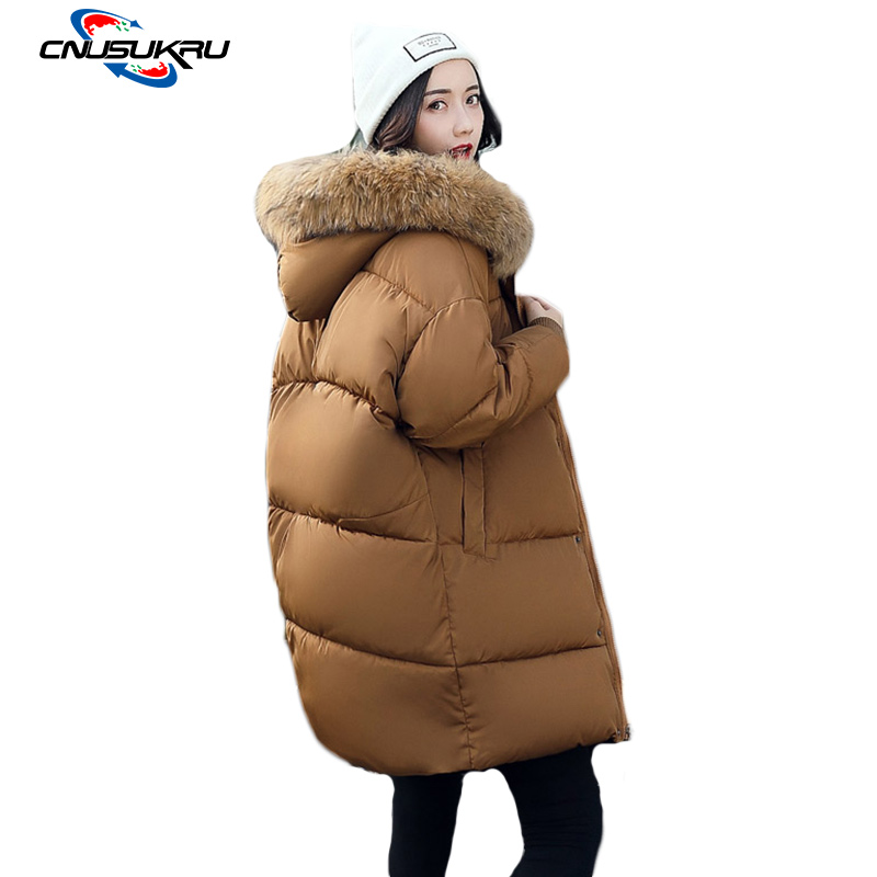 2017 Fake raccoon fur collar hooded loose bread jacket winter women Large size coat Female Down cotton warm long parkas outwear binyuxd women warm winter jacket 2017 fashion women hooded fur collar down cotton coat solid color slim large size female coat